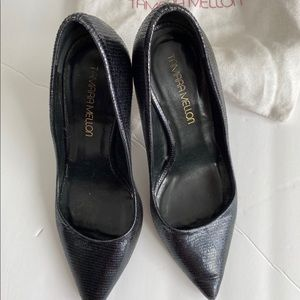Tamara Mellon Black Croc Print Heels.
